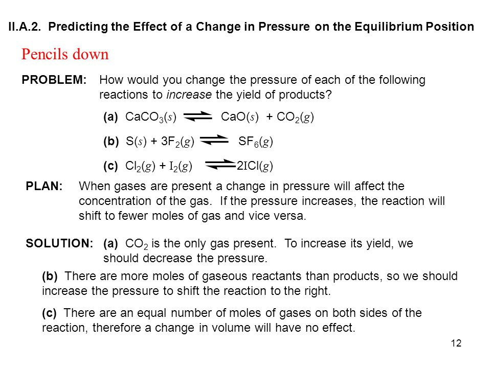 II.A.2. Predicting the Effect of a Change in Pressure on the Equilibrium Position