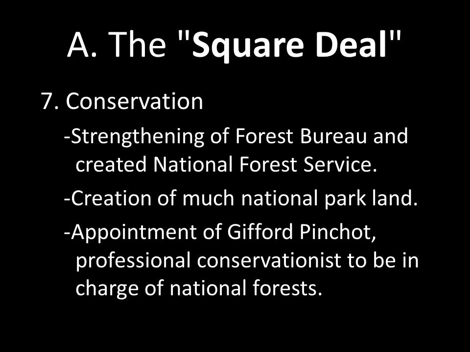 A. The Square Deal 7. Conservation