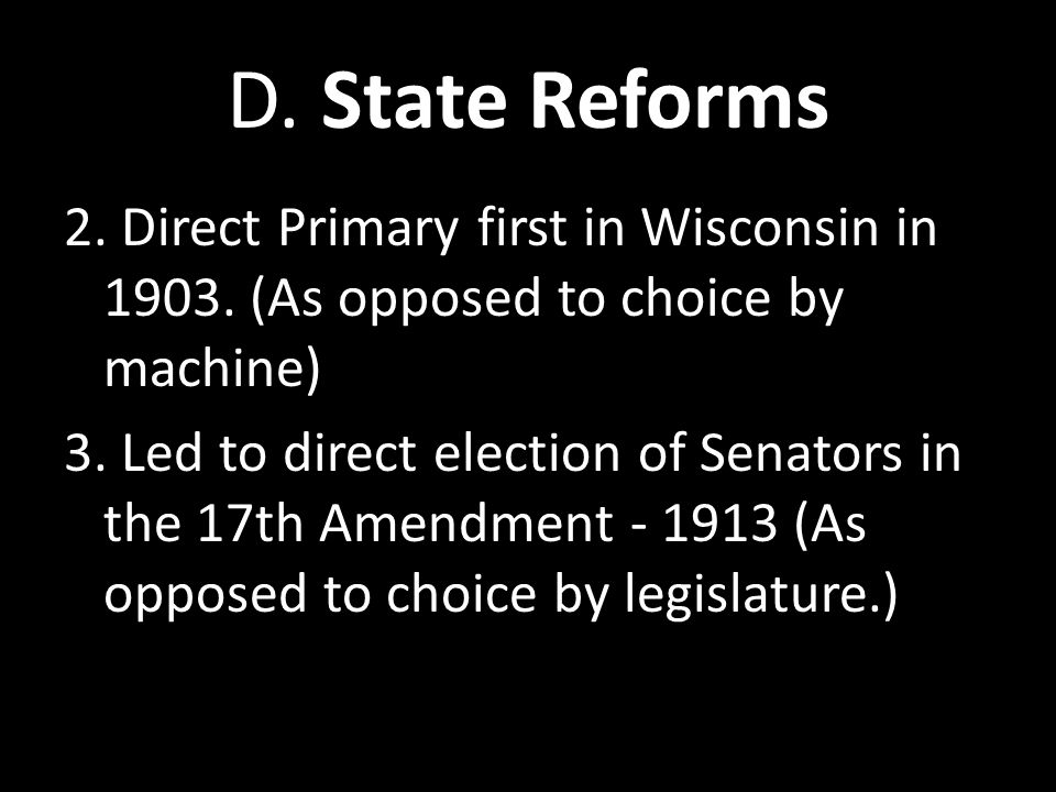 D. State Reforms
