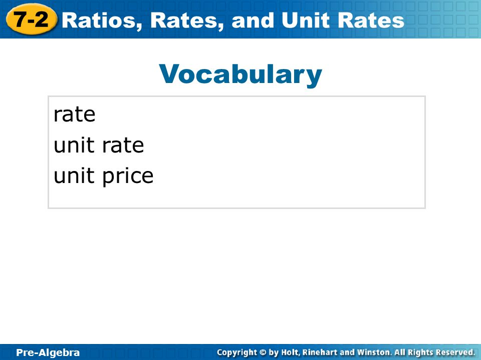 Vocabulary rate unit rate unit price