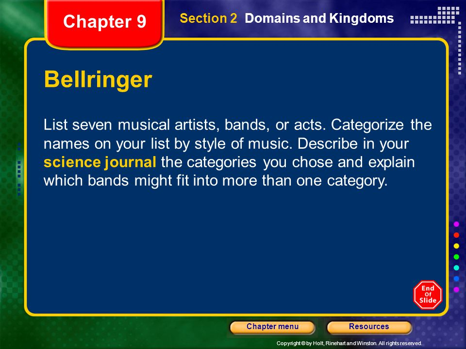 Chapter 9 Section 2 Domains and Kingdoms. Bellringer.