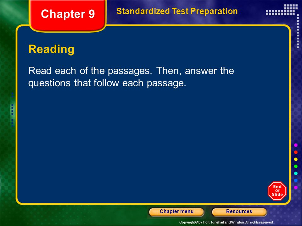 Chapter 9 Standardized Test Preparation. Reading.