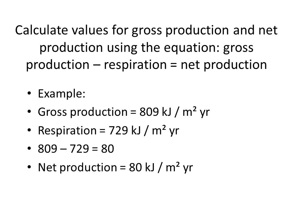 Calculate values for gross production and net production using the equation: gross production – respiration = net production