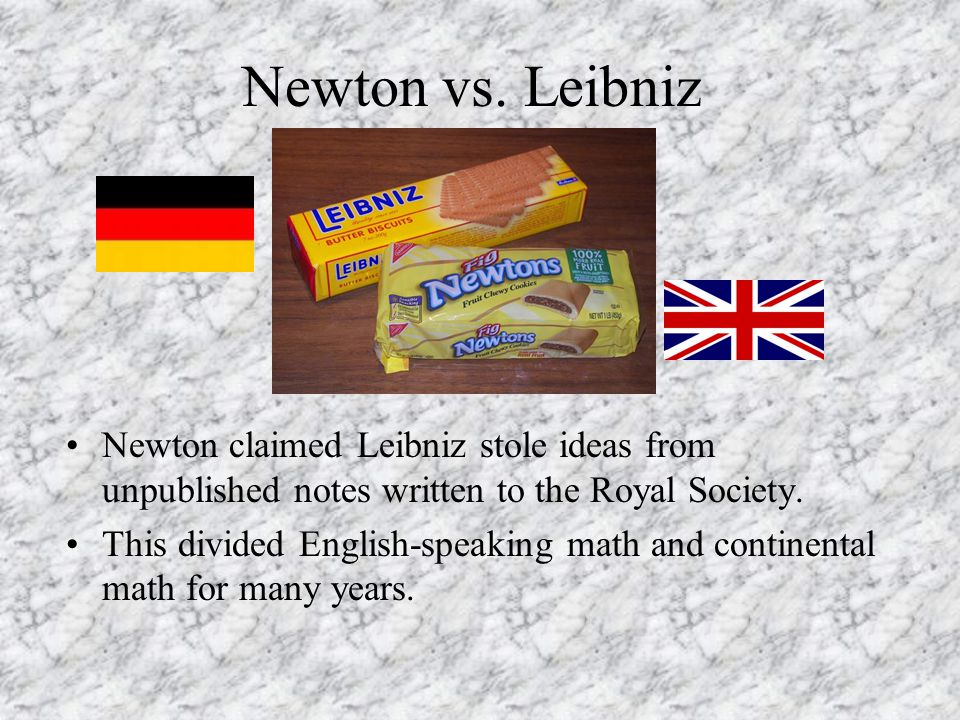 Newton vs. Leibniz Newton claimed Leibniz stole ideas from unpublished notes written to the Royal Society.