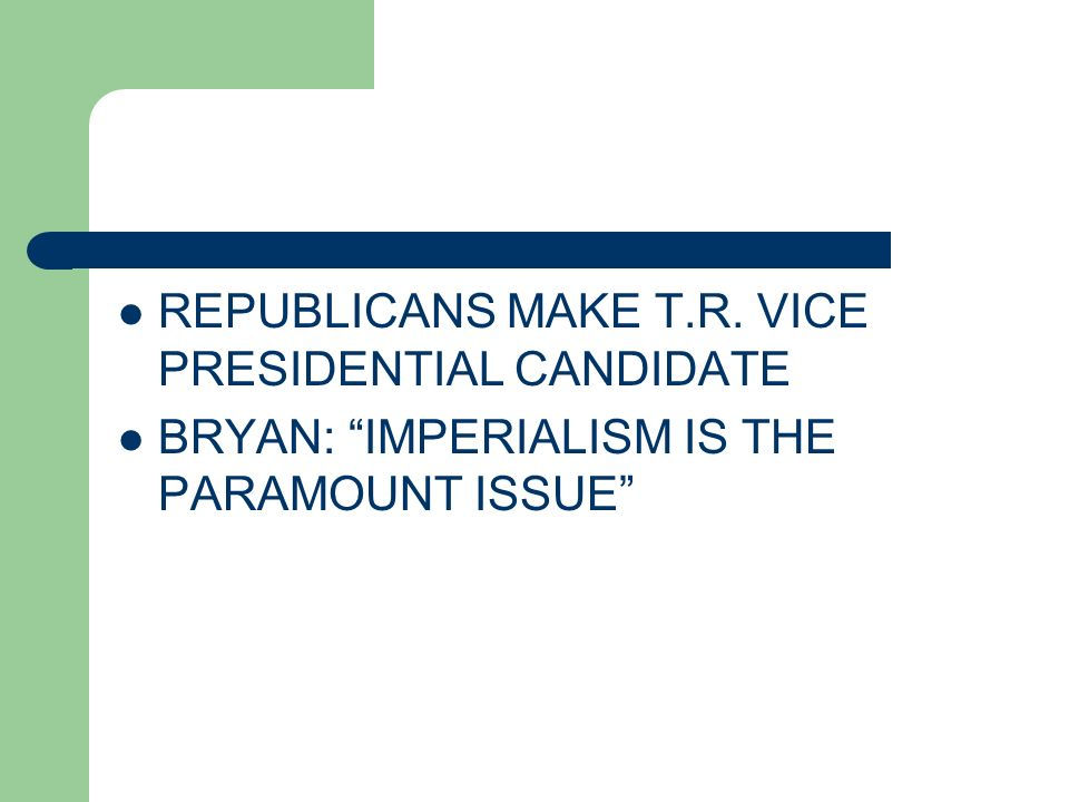 REPUBLICANS MAKE T.R. VICE PRESIDENTIAL CANDIDATE