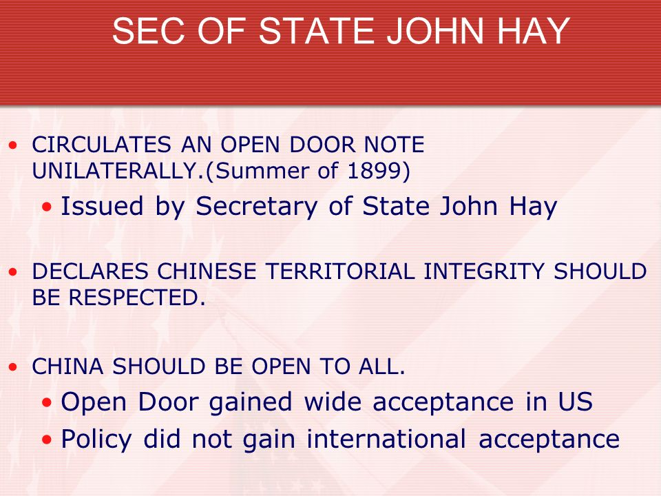 SEC OF STATE JOHN HAY Issued by Secretary of State John Hay