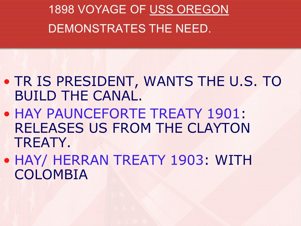 1898 VOYAGE OF USS OREGON DEMONSTRATES THE NEED.