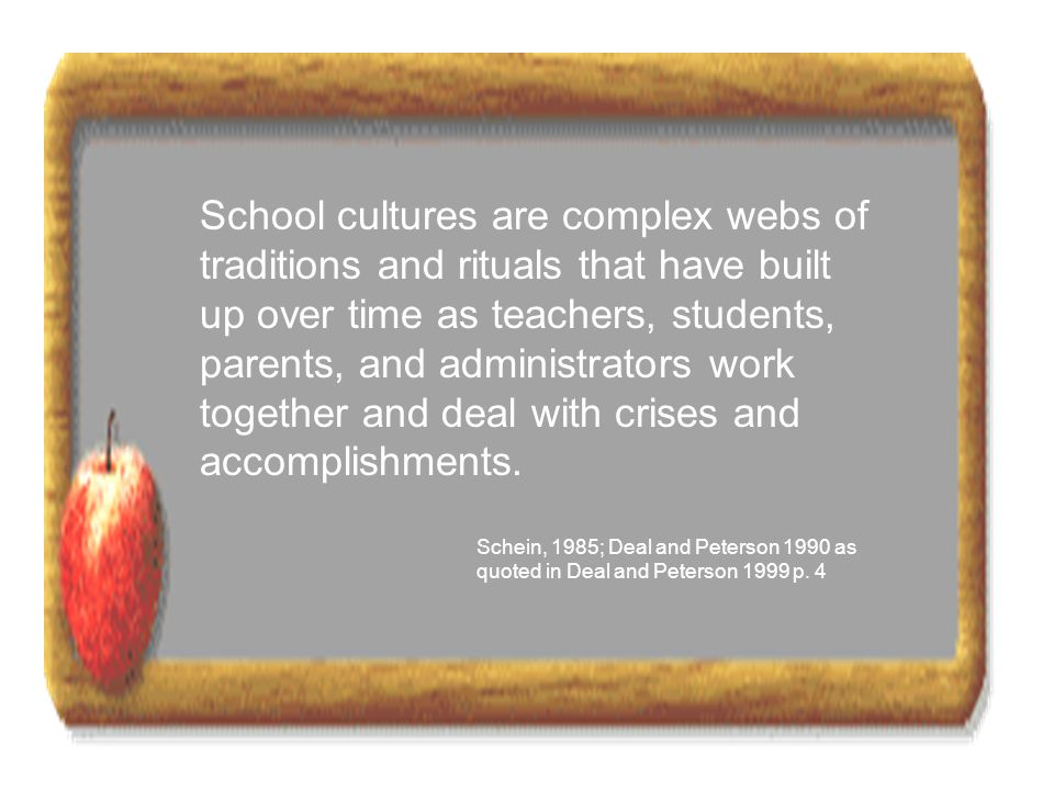 School cultures are complex webs of traditions and rituals that have built up over time as teachers, students, parents, and administrators work together and deal with crises and accomplishments. Schein, 1985; Deal and Peterson 1990 as quoted in Deal and Peterson 1999 p. 4