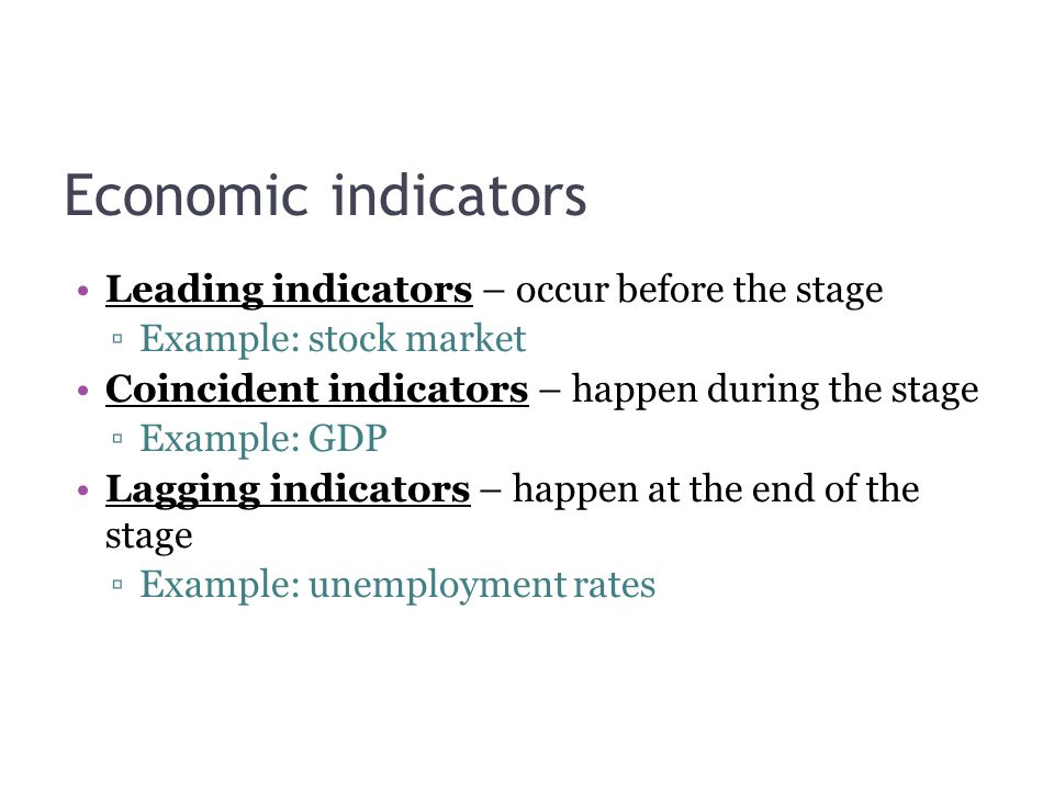 Economic indicators Leading indicators – occur before the stage