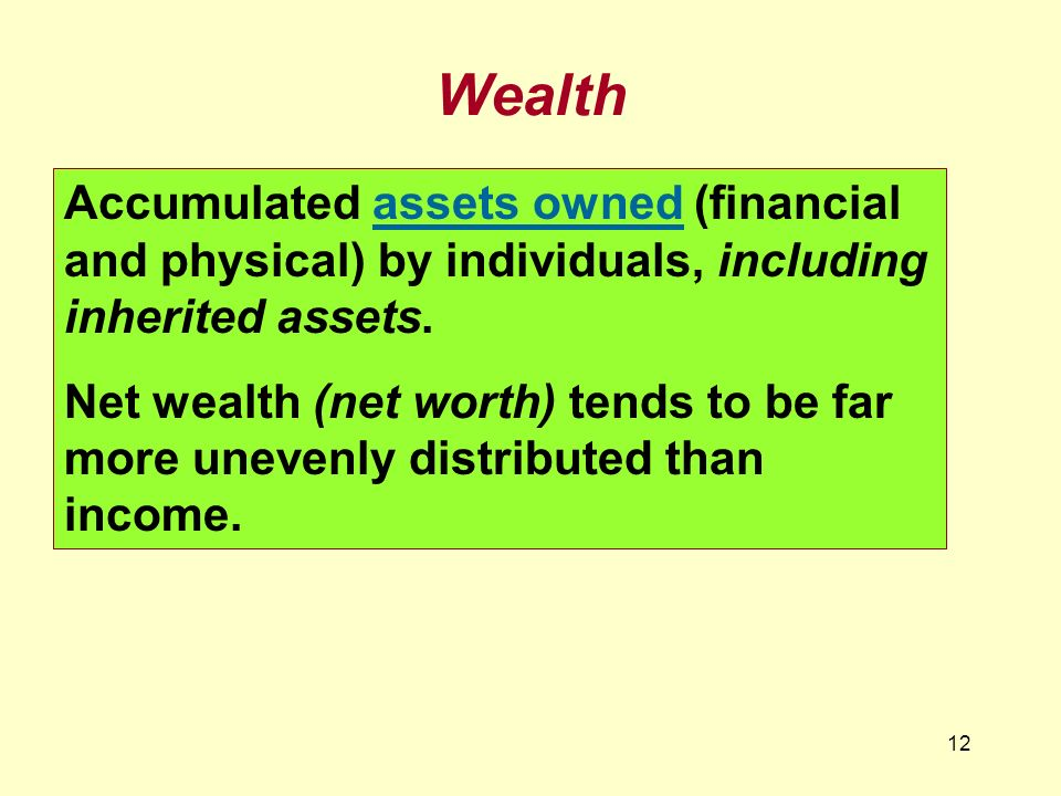 Wealth Accumulated assets owned (financial and physical) by individuals, including inherited assets.
