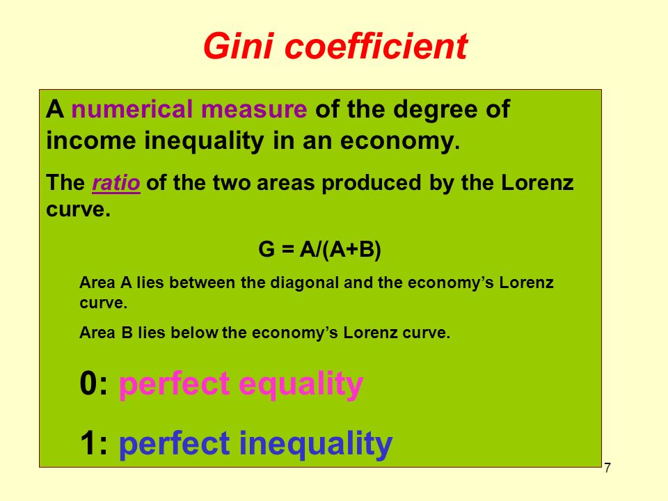 Gini coefficient 0: perfect equality 1: perfect inequality