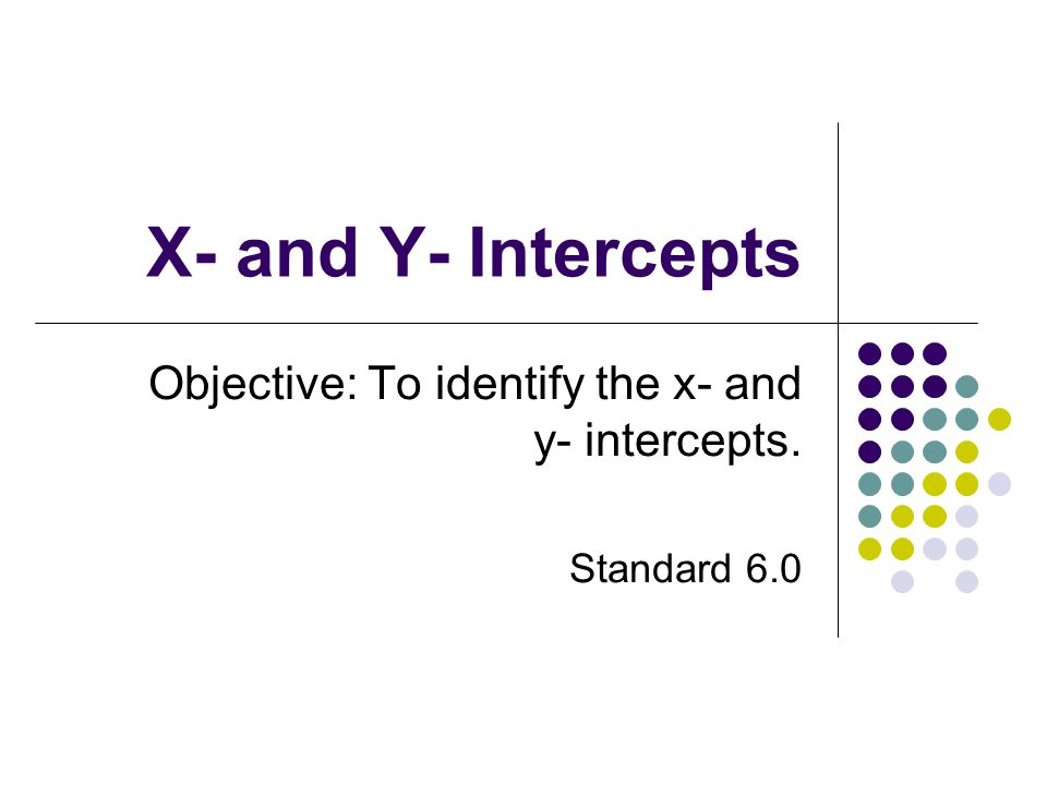 Objective: To identify the x- and y- intercepts. Standard 6.0