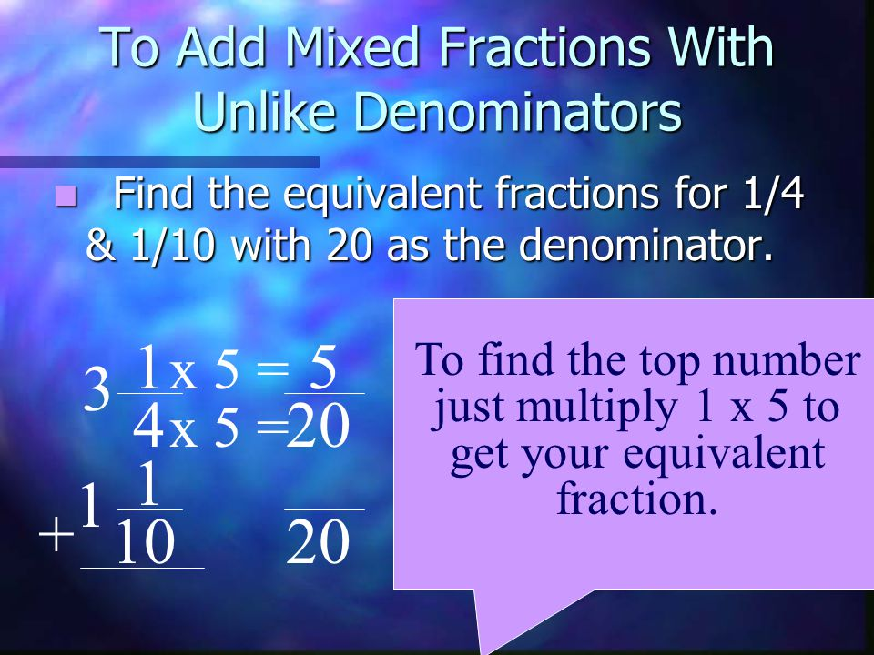 To Add Mixed Fractions With Unlike Denominators