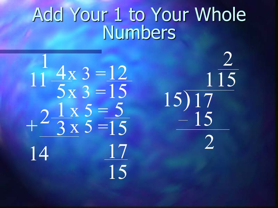 Add Your 1 to Your Whole Numbers