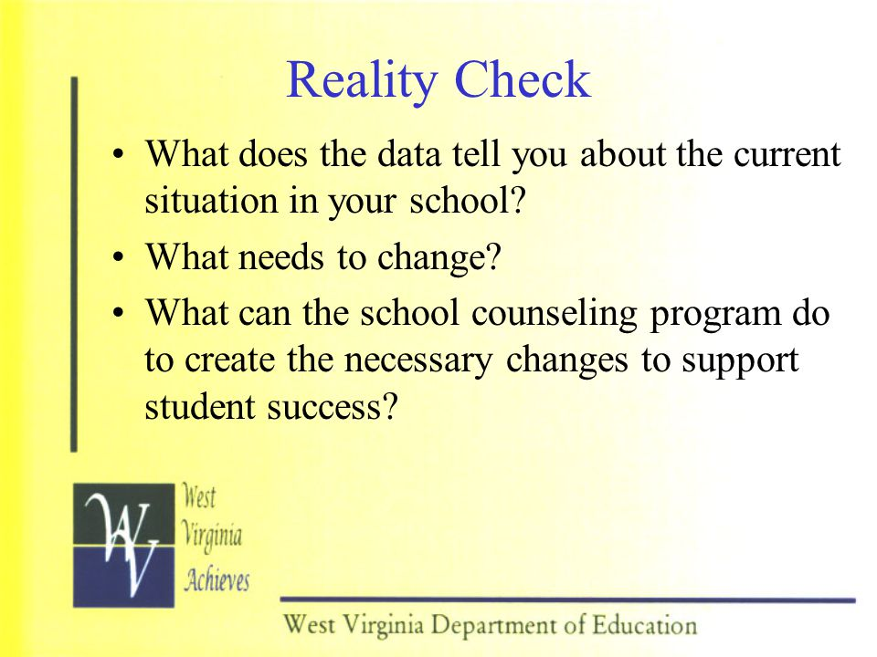 Reality Check What does the data tell you about the current situation in your school What needs to change