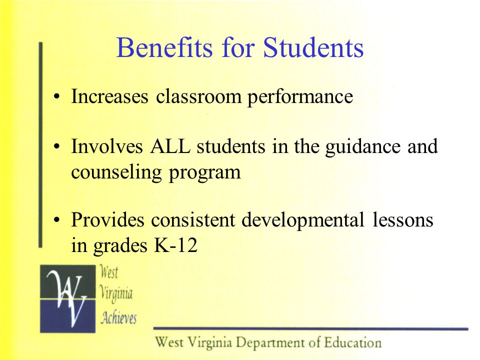 Benefits for Students Increases classroom performance