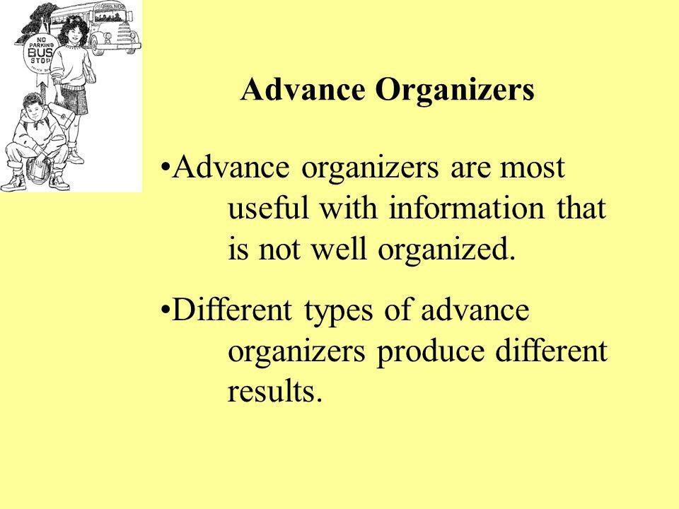 Different types of advance organizers produce different results.