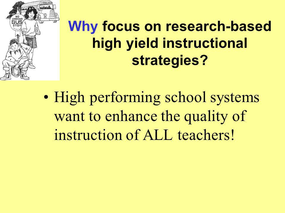 Why focus on research-based high yield instructional strategies