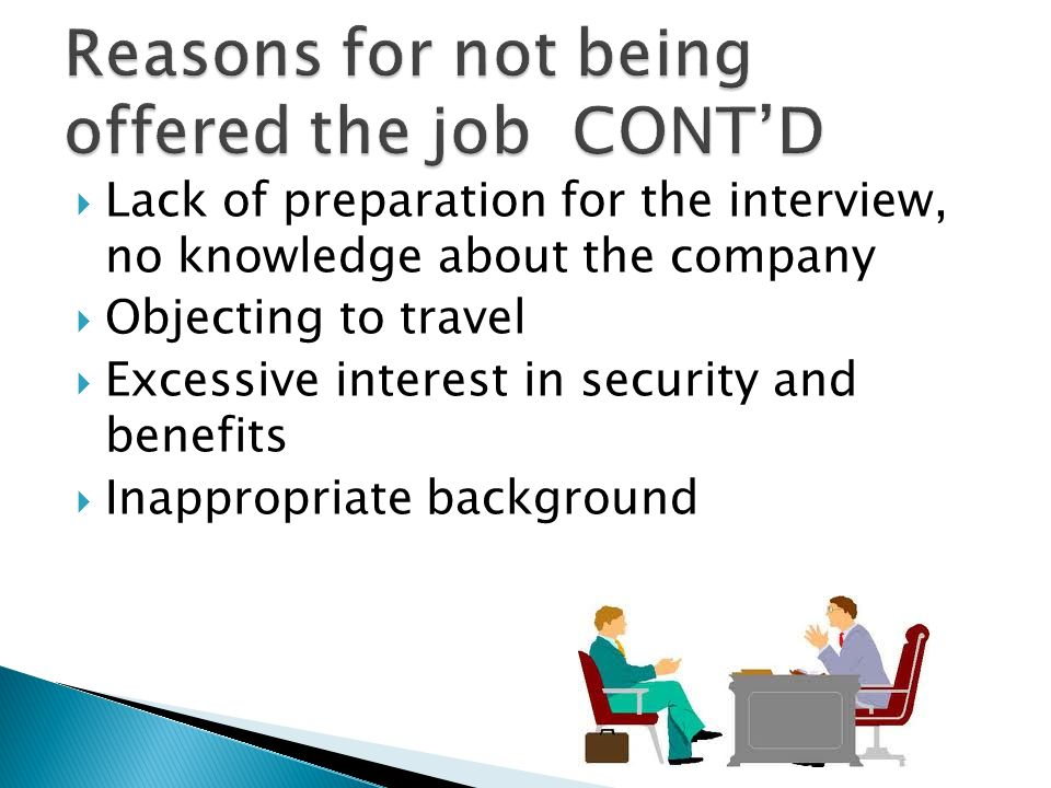 Reasons for not being offered the job CONT'D