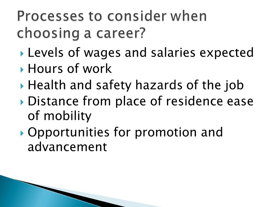 Processes to consider when choosing a career