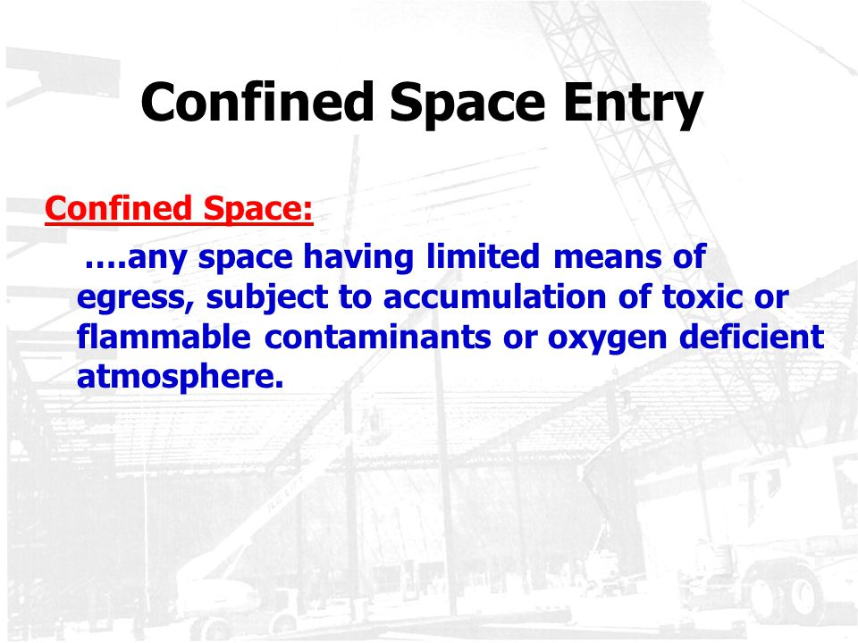 Confined Space Entry Confined Space: