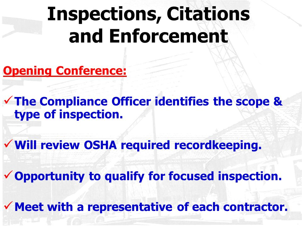 Inspections, Citations and Enforcement