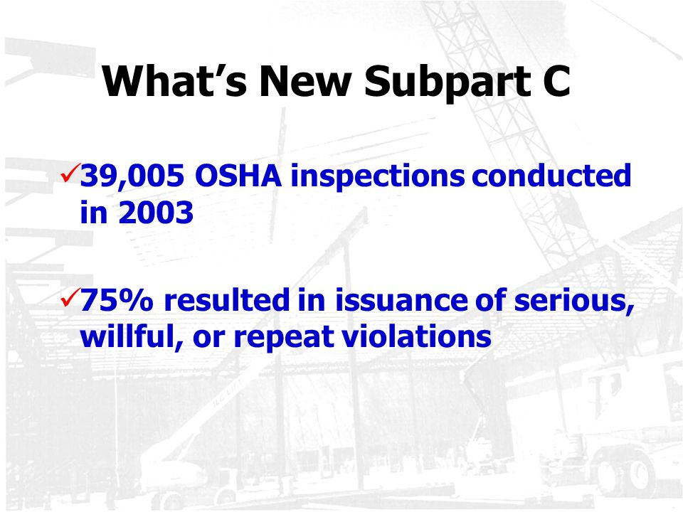 What's New Subpart C 39,005 OSHA inspections conducted in 2003