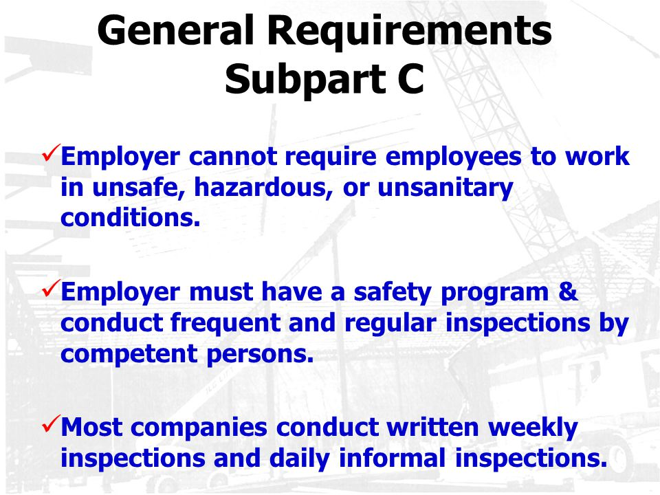 General Requirements Subpart C