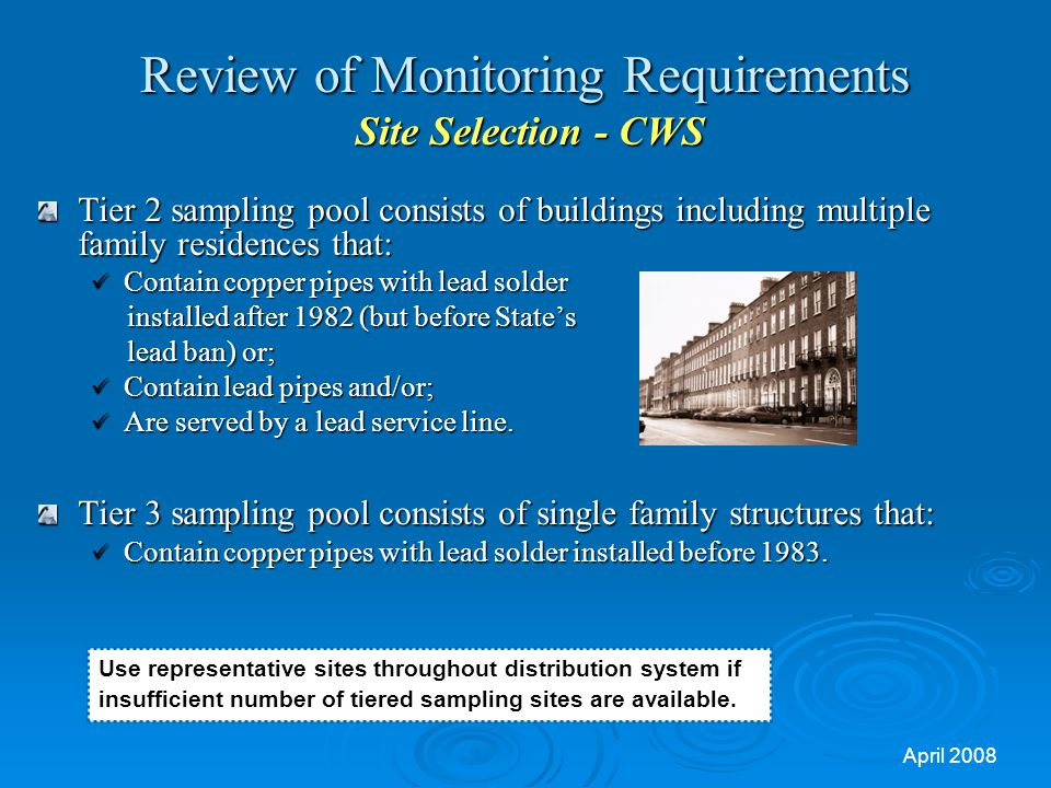 Review of Monitoring Requirements Site Selection - CWS