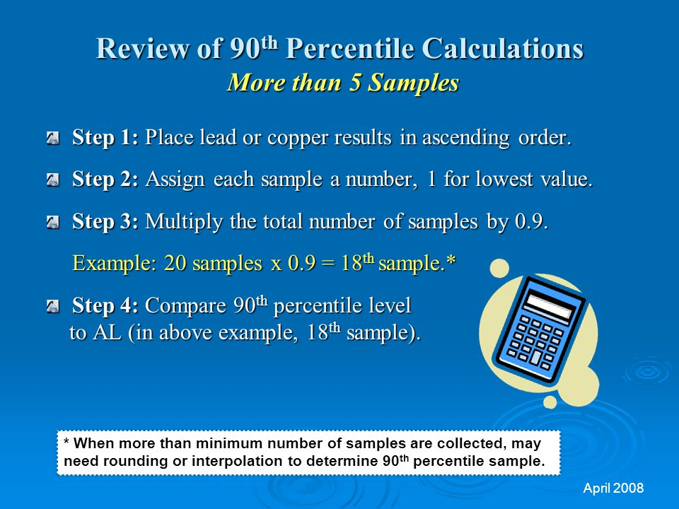 Review of 90th Percentile Calculations More than 5 Samples
