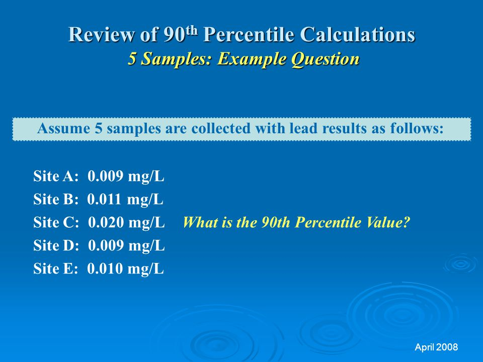 Review of 90th Percentile Calculations 5 Samples: Example Question