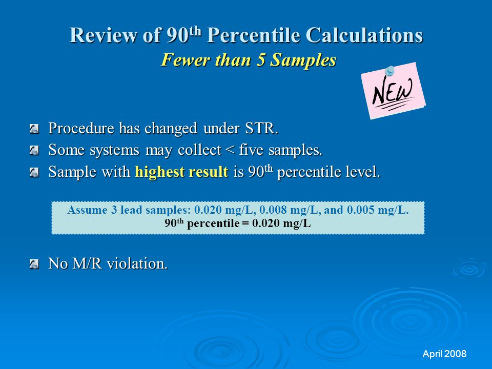 Review of 90th Percentile Calculations Fewer than 5 Samples