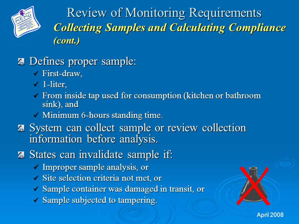 Review of Monitoring Requirements Collecting Samples and Calculating Compliance (cont.)
