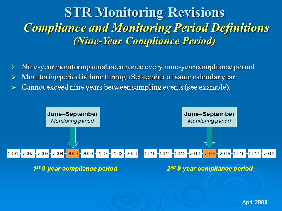 1st 9-year compliance period 2nd 9-year compliance period