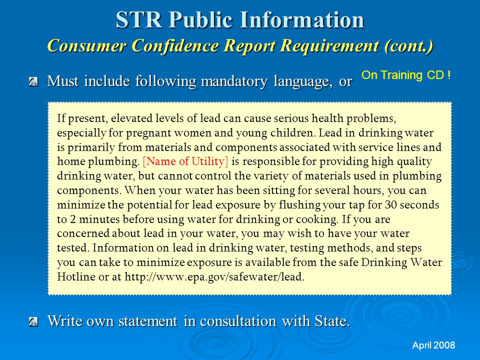 STR Public Information Consumer Confidence Report Requirement (cont.)