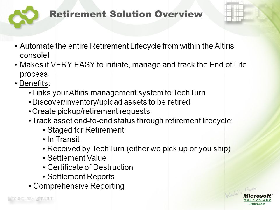 Retirement Solution Overview