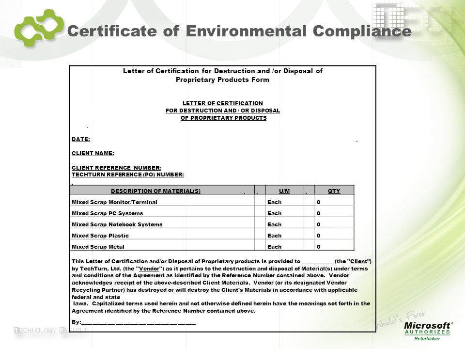Certificate of Environmental Compliance