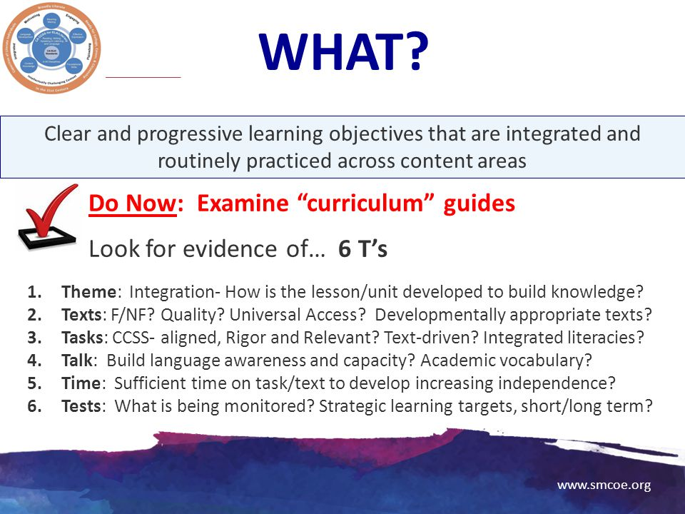 WHAT Do Now: Examine curriculum guides Look for evidence of… 6 T's