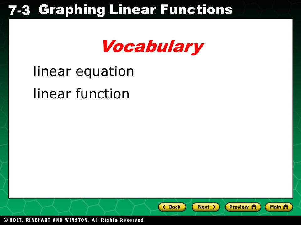 Vocabulary linear equation linear function