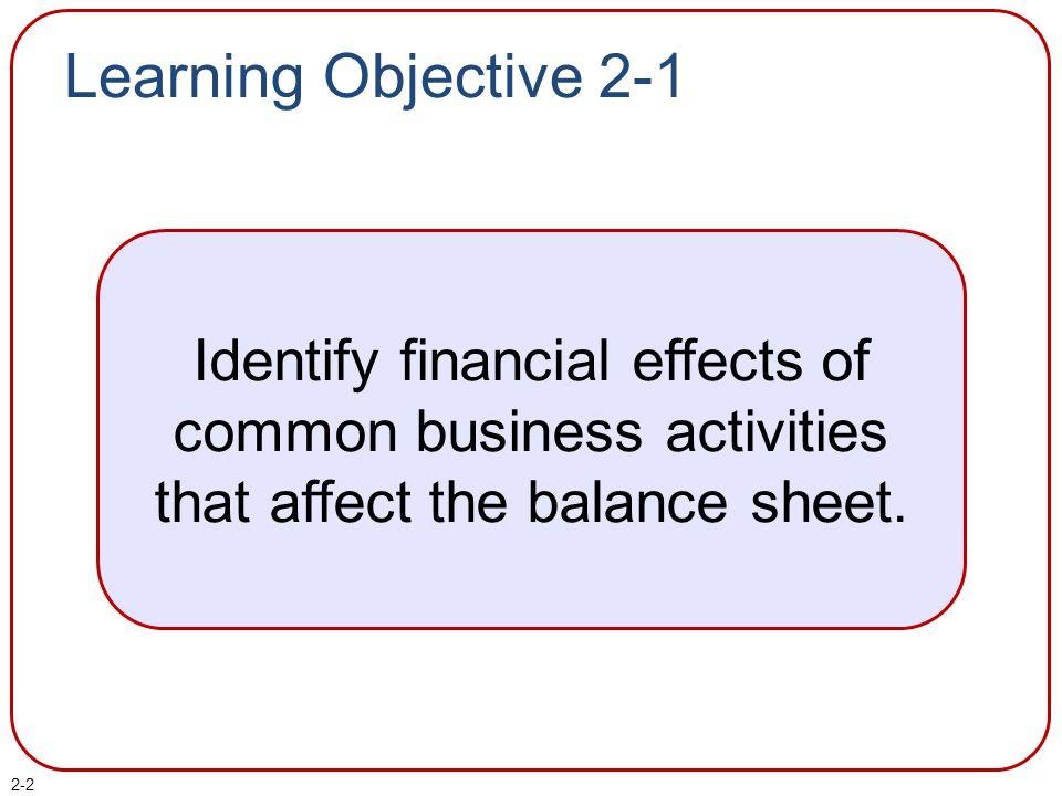 Learning Objective 2-1 Identify financial effects of common business activities that affect the balance sheet.