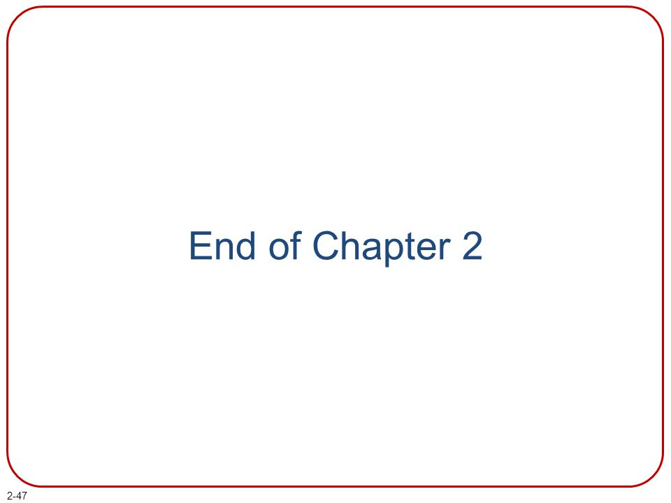 End of Chapter 2 End of chapter 2.