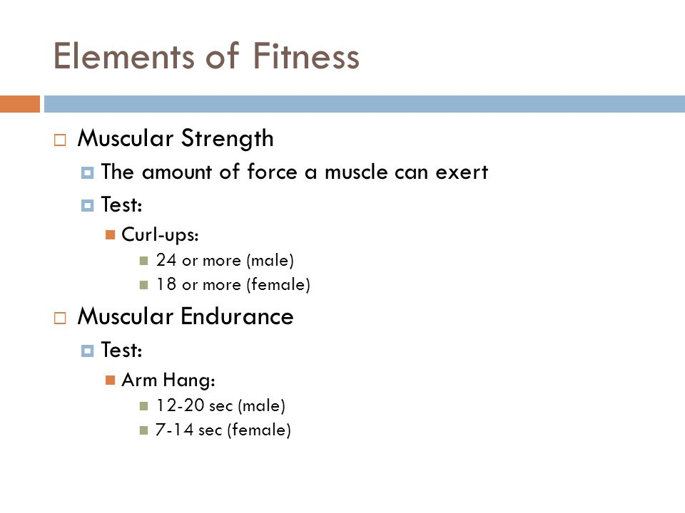 Elements of Fitness Muscular Strength Muscular Endurance