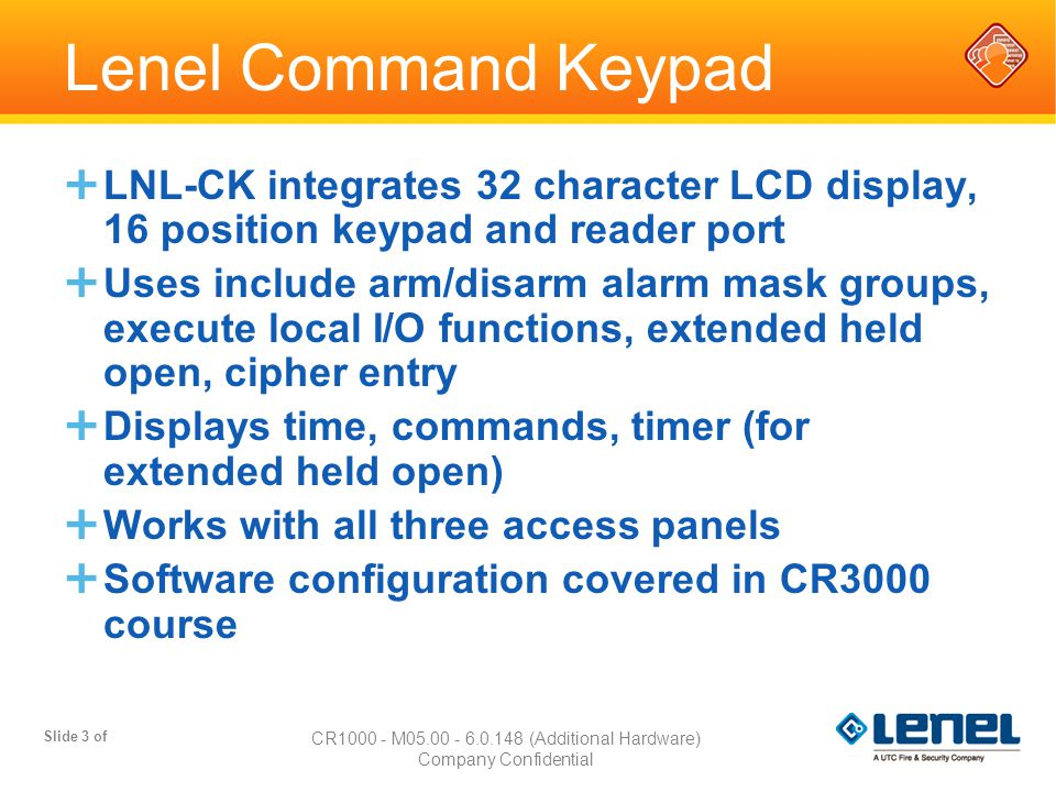 Lenel Command Keypad LNL-CK - ppt download