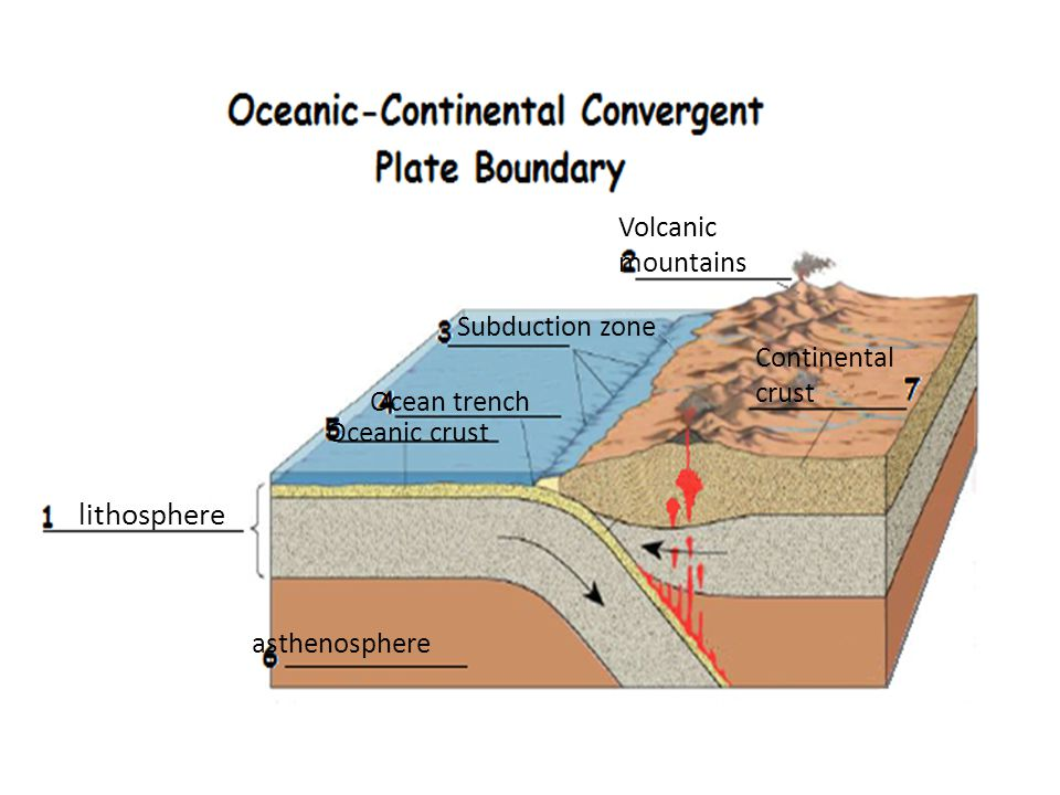 lithosphere Volcanic mountains Subduction zone Continental crust