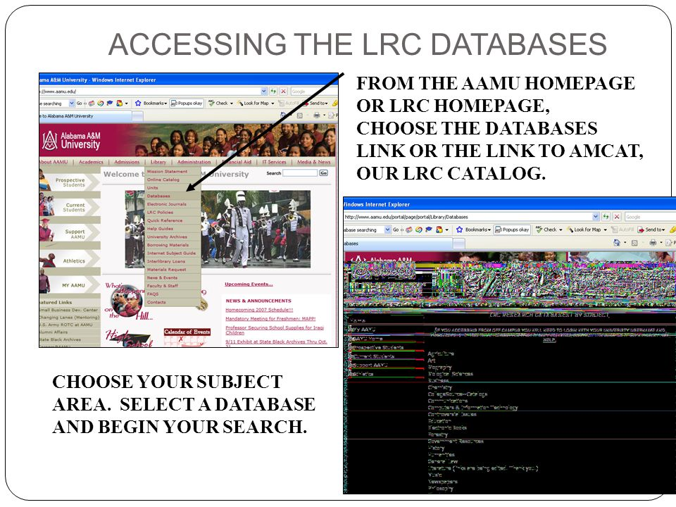 ACCESSING THE LRC DATABASES