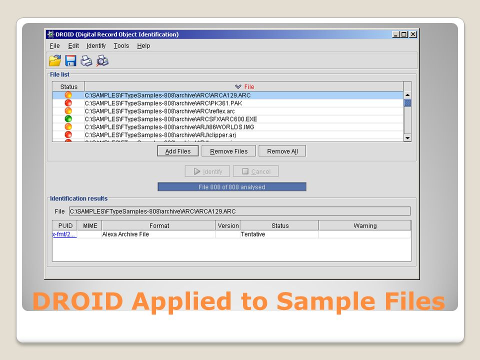 DROID Applied to Sample Files