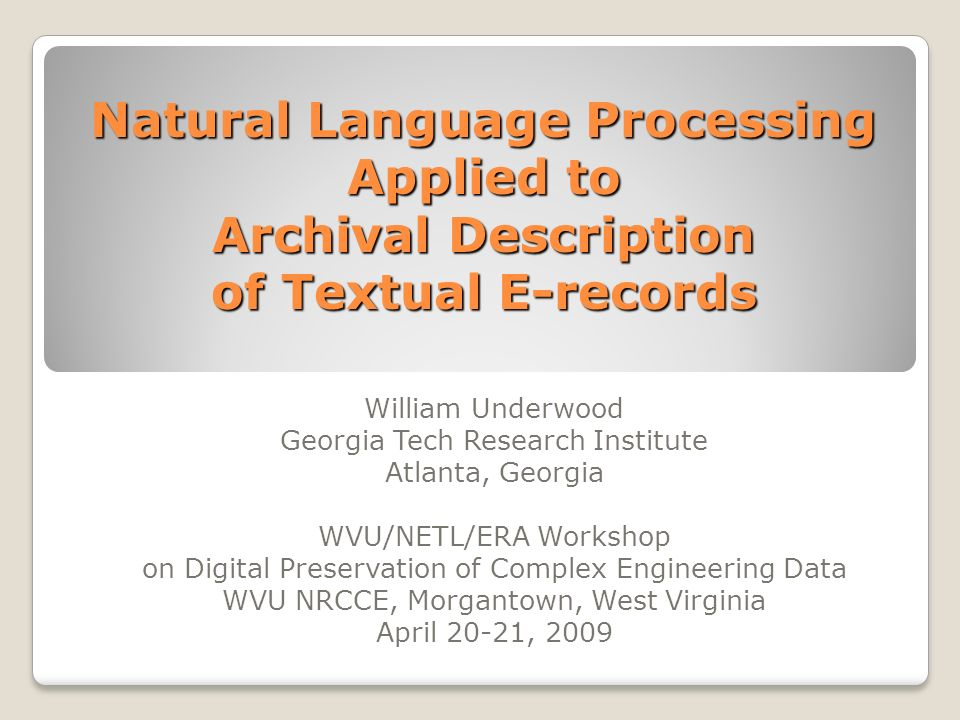 Natural Language Processing Applied to Archival Description of Textual E-records