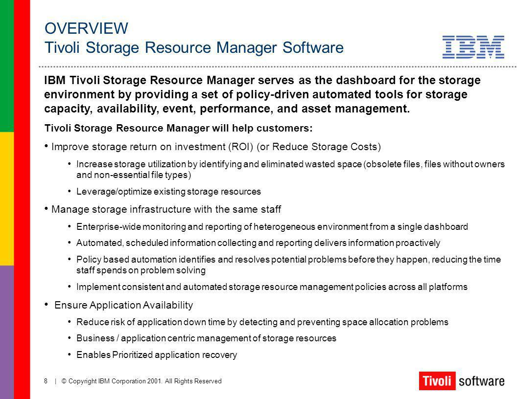 OVERVIEW Tivoli Storage Resource Manager Software