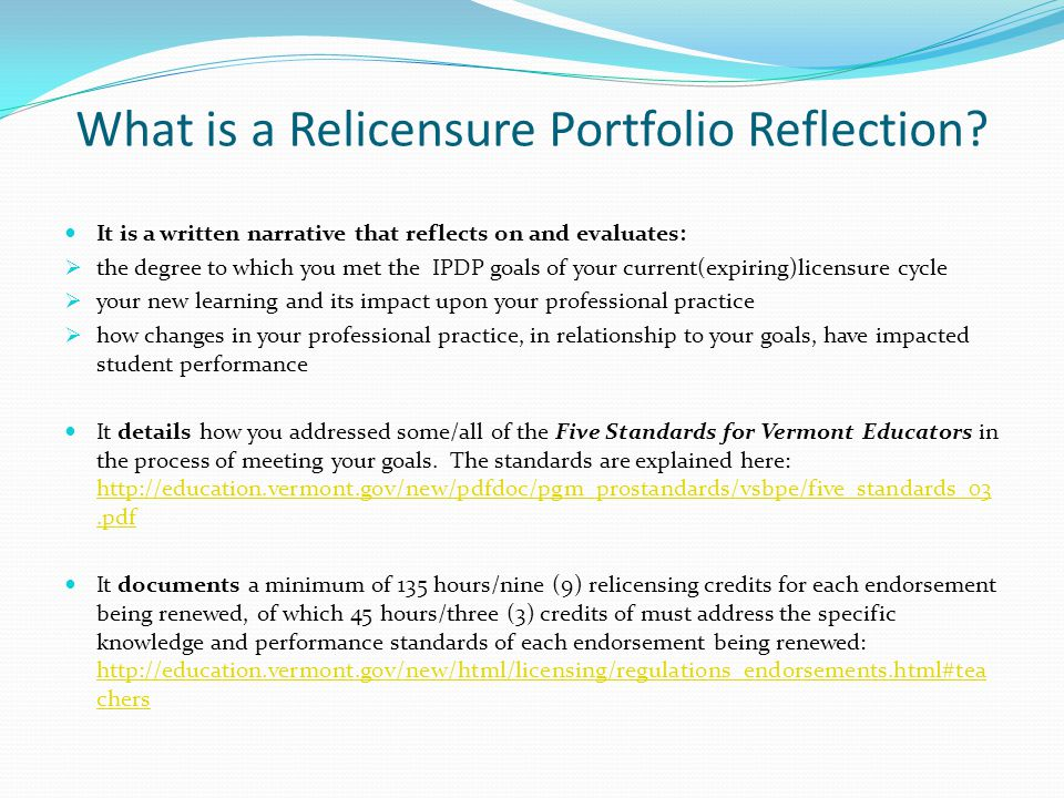 What is a Relicensure Portfolio Reflection
