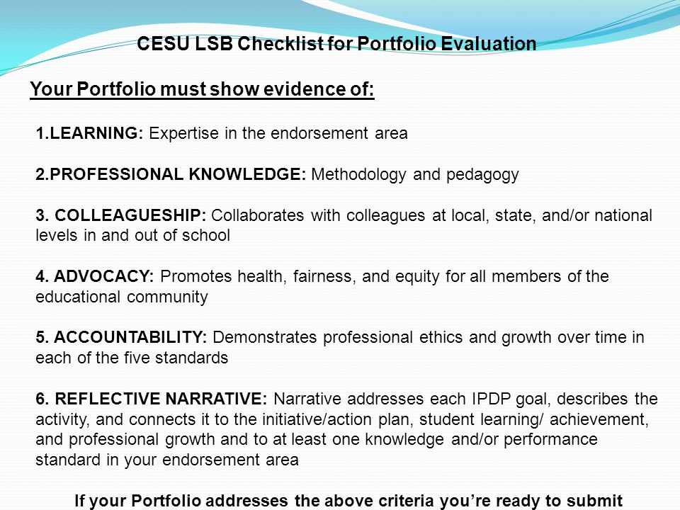 CESU LSB Checklist for Portfolio Evaluation